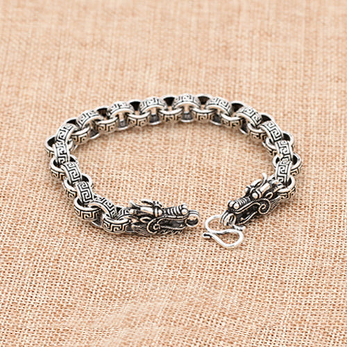 Men's Solid 925 Sterling Silver Bracelet Link Chain Dragon Stripe Loop Jewelry