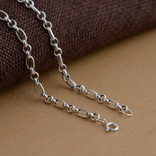 Real Solid 925 Sterling Silver Necklace Rectangular O Link Chain Men's 22