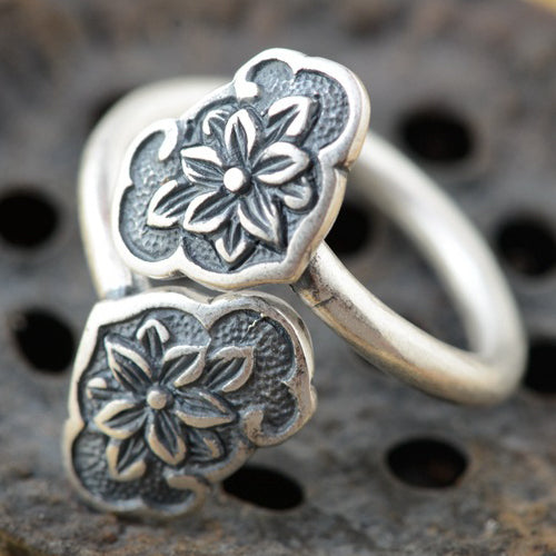 Women's Real S990 Solid Sterling Silver Ring Two Flower Adjustable Size 6 7 8