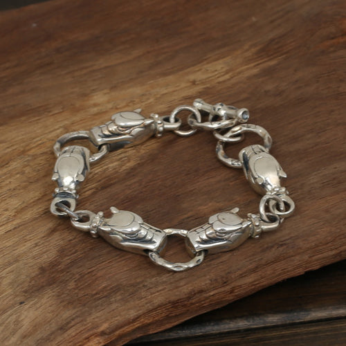 Men's Solid 925 Sterling Silver Bracelet Link Dog Dragon Head Chain Jewelry