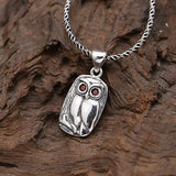 Solid 925 Sterling Thai Silver Pendant Lovely Owl Zircon Inlay Men's Women's