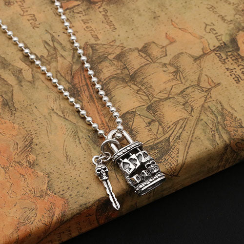 Solid 925 Sterling Thai Silver Pendant Skull Lock Key Poker Dice Men's Women's