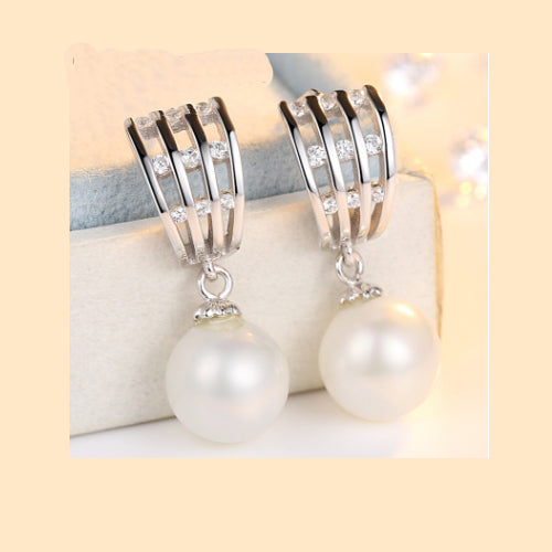 Real 925 Sterling Silver Earring Ear Stud Freshwater Pearl Women's Jewelry