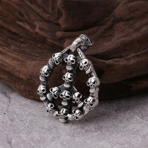 Real 925 Sterling Silver Pendant Skull Loop