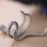 Solid 925 Sterling Silver Ring Beautiful Snake Adjustable Size 7 8 9 10 11