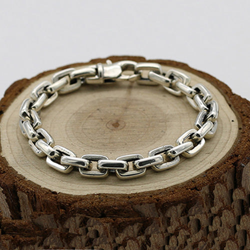 Men's 925 Sterling Silver Bracelet Link Classical Chain Loop Jewelry 6.3