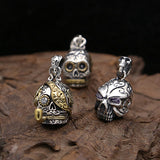 Genuine Solid Sterling Thai Silver Pendant Skull Tobacco Pipe Zircon Inlay