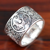 Fine 990 Pure Silver Ring Deity Beast Dragon Tiger Rosefinch Tortoise Size 6 to 14