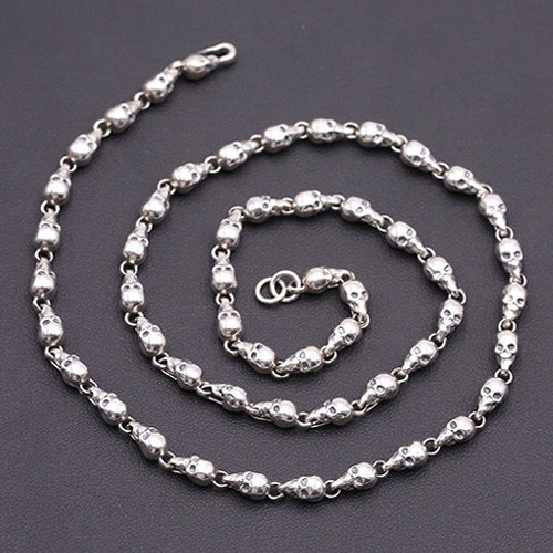 Real Solid 925 Sterling Thai Silver Necklace Chain Skull Men's 18