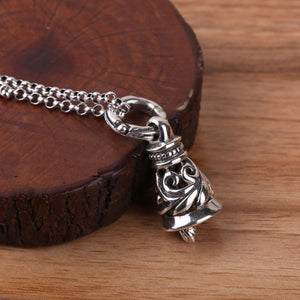 Solid 925 Sterling Thai Silver Pendant Bell Hollow Men's Women's