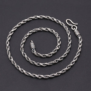 "Genuine Solid Sterling Silver Thai Silver Braided Chain Men's Necklace 18""-24"""