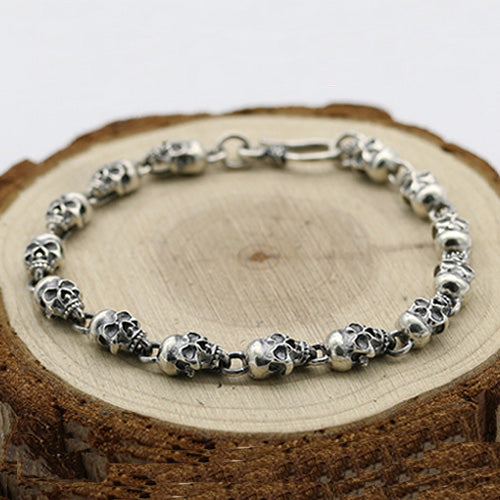 Men's Real 925 Sterling Silver Bracelet Link Chain Skulls Womens 6.3