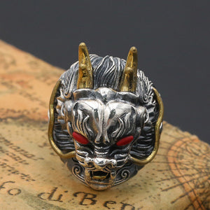 Men's Solid 925 Sterling Thai Silver Ring Dragon King Open Size 9 10 11 12 13