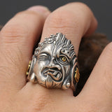 Huge Men's Solid 925 Sterling Silver Ring Half Demon Open Size 10 11 12 13