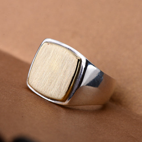 Real 925 Sterling Silver Ring Rectangle Wiredrawing Size 7 8 9 10 11