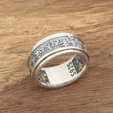 Real 925 Sterling Silver Ring Rotation Men's Scriptures Lection Size 7 8 9 10 11