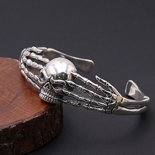 Men's Real 925 Sterling Silver Cuff Bracelet Two Hands Skull Jewelry