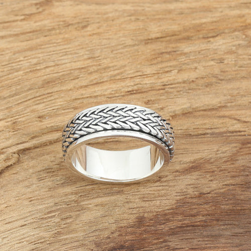 Solid 925 Sterling Thai Silver Ring Rotation Braided Men Size 7 8 9 10 11 12