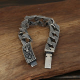 Heavy Men's Solid 925 Sterling Silver Bracelet Vajra Link Chain Lection Jewelry