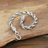 Men's Solid 925 Sterling Silver Bracelet Link Braided Loop Chain Jewelry