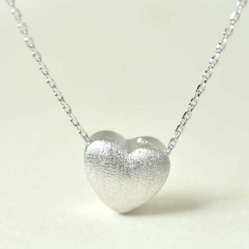 Women's Solid 925 Sterling Silver Pendant Necklace Brush Heart Jewelry Gift