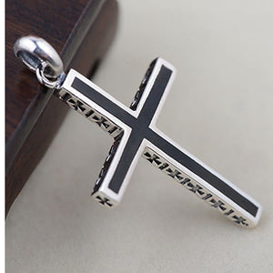 Genuine Solid 925 Sterling Thai Silver Pendant Cross Black Men's Women's