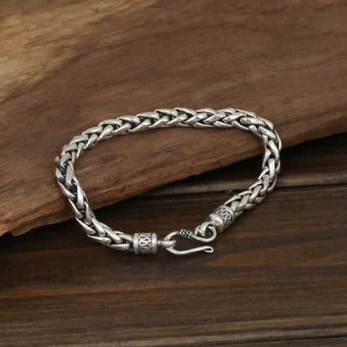 Men's Solid 925 Sterling Silver Bracelet Link Chain Twist Braided Jewelry