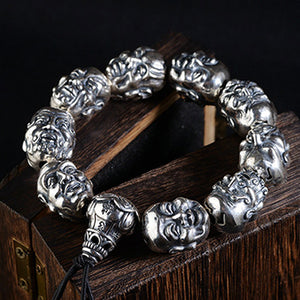 Real 990 Pure Silver Bracelet Link Eighteen Arhats Buddhism Beads Chain