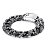 "Punk Men 316L Stainless Steel Bracelet Link Loop Totem 7.7""- 9.4"""