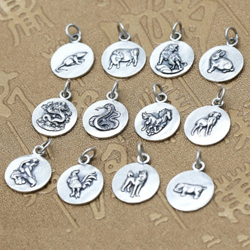 Real 990 Sterling Silver Pendant Chinese Zodiac Jewelry