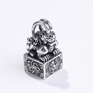 Real 925 Sterling Silver Pendant Pi Xiu Signet The-four-mythical-wild-animal