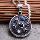 Real 925 Sterling Silver Pendant Om mani padme hum Rotation Jewelry Gems