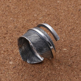 Real 925 Sterling Silver Ring Feather Open Size 8 9 10