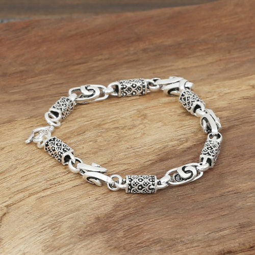 Men's Solid 925 Sterling Silver Bracelet Link Chain Knot Dragon Scale Jewelry