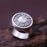 Real 925 Sterling Silver Ring Men's Trigram Rotation Size 7 8 9 10 11 12