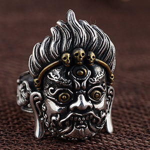 Mens Huge 925 Solid Sterling Thai Silver Ring Skull King Adjustable Size 9 10 11