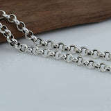 "8mm Genuine Solid Sterling Thai Silver O Links Chain Men Heavy Necklace 20""-24"""