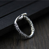 Solid 925 Sterling Silver Ring Incantation Hoop Adjustable Size 8.5 to 10.5