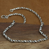 "Genuine Solid 925 Sterling Thai Silver S Twist Chain Men's Necklace 20""-26"""