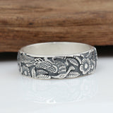 Men's Women's 990 Sterling Solid Thai Silver Ring Magpie Flower Size 5.5 to10