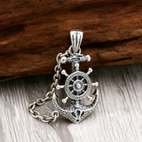 Solid 925 Sterling Thai Silver Pendant Anchor Corsair Helm Chain Men's Women's
