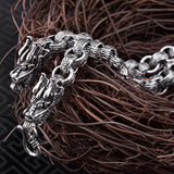 "8mmSolid 925 Sterling Thai Silver Dragon Head Fretted Chain Men Necklace 20""-24"""