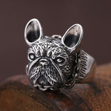 New Real 925 Sterling Silver Ring Men's Bulldog Adjustable Size 9 10 11