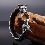 Men's Stainless Steel Genuine Leather Bracelet Clasp Wolf Bangle Silver Link