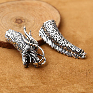 Real 925 Sterling Silver DIY Bracelet Accessories Dragon Head Tail Jewelry