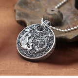 Solid 990 Sterling Pure Silver Pendant Dragon Phoenix Dog Tag Blessing