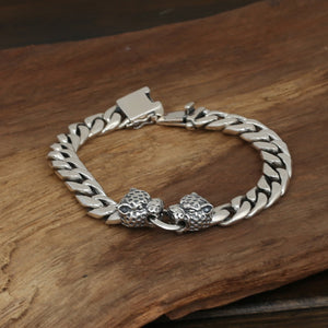 Men's Solid 925 Sterling Silver Bracelet Link Leopard Head Chain Jewelry