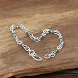 Men's Solid 925 Sterling Silver Bracelet Link Chain Loop Vajra Jewelry