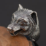 Huge Men's Solid 925 Sterling Thai Silver Ring Wolf Head Open Size 8 9 10 11