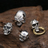 Genuine Solid Sterling Thai Silver Pendant Skull Zircon Inlay Men's Women's